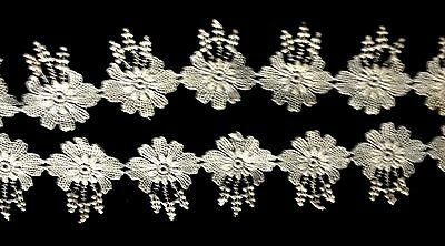 """Old Vintage Adorable Flowers Schiffli or Chemical Lace, Trim, Edging, 5`"""" long"""