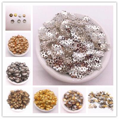 Hollow Filigree Flower Bead Caps Findings End Caps Jewelry Making DIY 100//200PCS