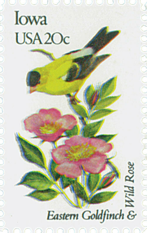 1982 20c State Birds & Flowers, Iowa Goldfinch & Wild R