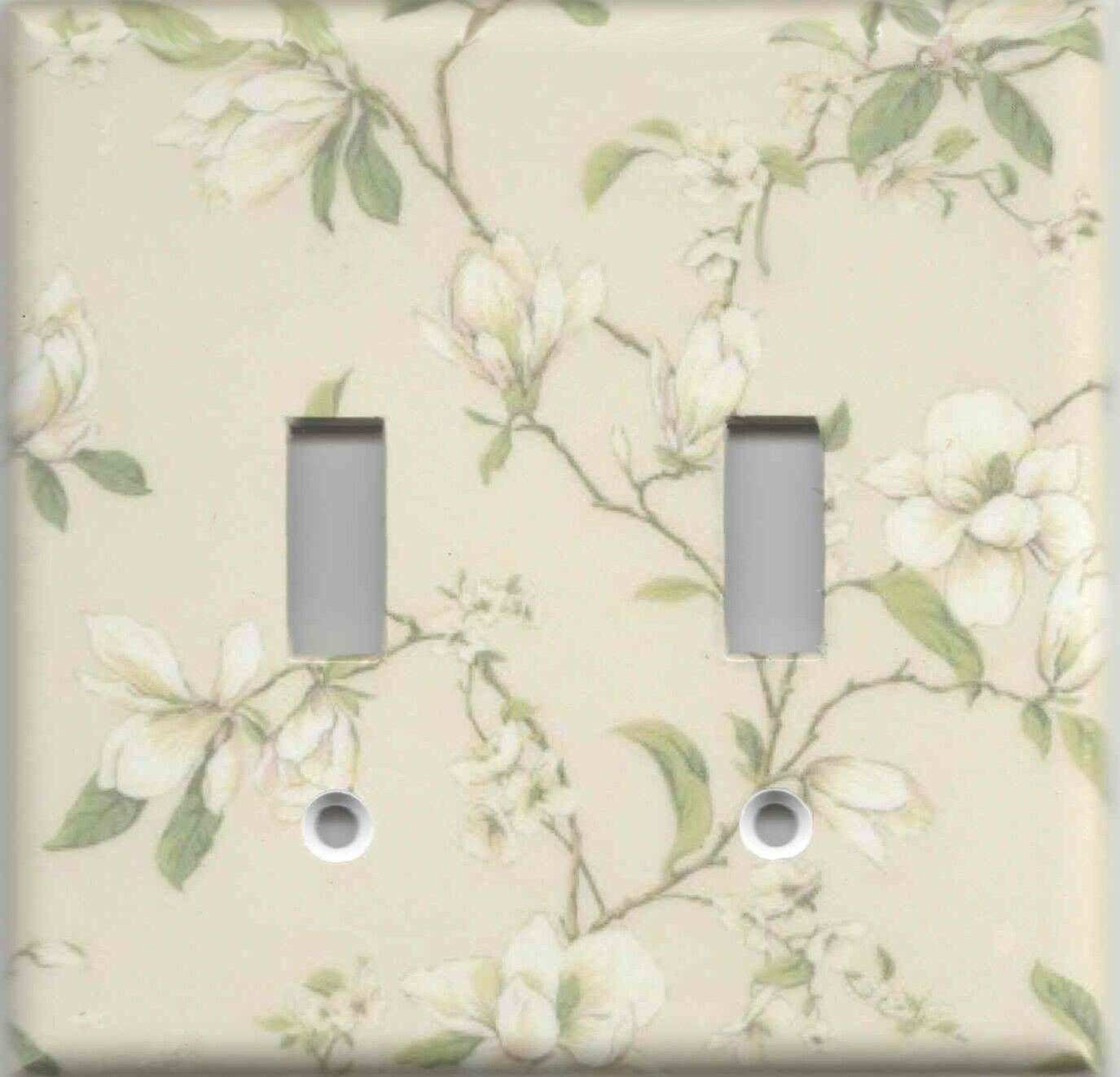 Magnolia Flower On Beige Home Wall Decor Double Light Switch Plate Ebay