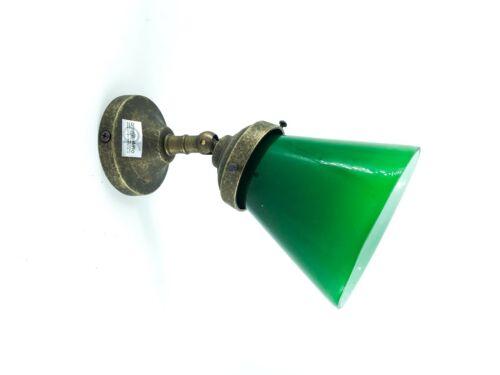 Wandlampe Messing Lenkbar Strahler mit Glas Grün Opal