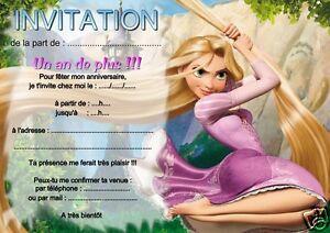 5 Ou 12 Cartes Invitation Anniversaire Raiponce Ref 16 Avec Sans Envel Imprimees Ebay