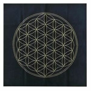 Flower of Life Tarot Cloth Decor Divination Cards Wicca Velveteen Golden Print