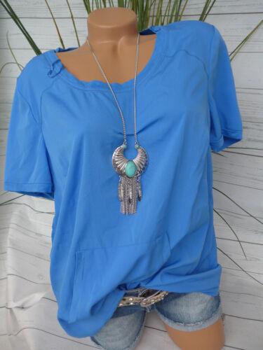 44 bis 56 kurzarm Blau mit Taschen vorne Sheego Shirt Gr 576 NEU 649