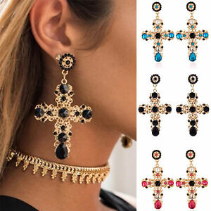 Image Is Loading Women Vintage Baroque Style Luxury Crystal Gold Cross