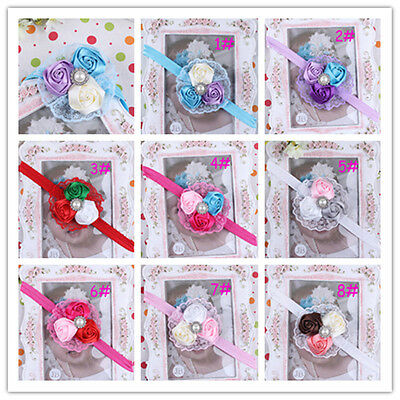 Kids' Clothing, Shoes & Accs Triple Rose & Pearl Headband-pink,hot Pink,aqua,purple,white,red Hair Accessories