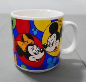 VINTAGE DISNEY Ceramic Coffee Mug Mickey Minnie Goofy Donald Pluto Made in Korea