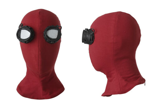 Spider Man Homecoming Peter Parker Cosplay Red Mask Costume Facemask Props Hat