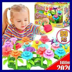 Flower Garden Building Toys Preschool STEM Toys DIY Arts Craft Kit Stacking Game Pretend Gardening Playset for Kids Toddler Christmas Birthday Gifts Toys for Age 3 4 5 6 Year Old Girls 138 PCS