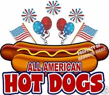 All American Hot Dogs 10 Decal Concession Food Truck Hotdog Cart Vinyl Sticker