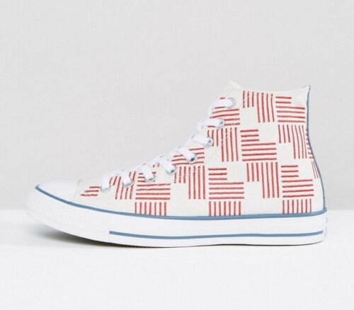 Converse All Star Chuck Taylor Shoes Unisex Hi Top White Red Blue 155382C NEW