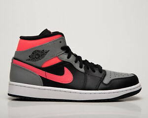 Air Jordan 1 Mid Rose Shadow Homme Noir Gris Casual Lifestyle Baskets Chaussures