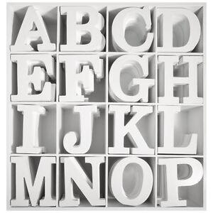 3D Holz Buchstaben weiß MDF A-Z Sonderzeichen Deko Schrift Alphabet ...