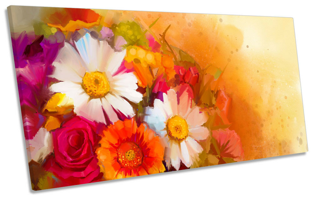 rot Daisy Floral Flowers PANORAMIC CANVAS WALL ARTWORK Print Art