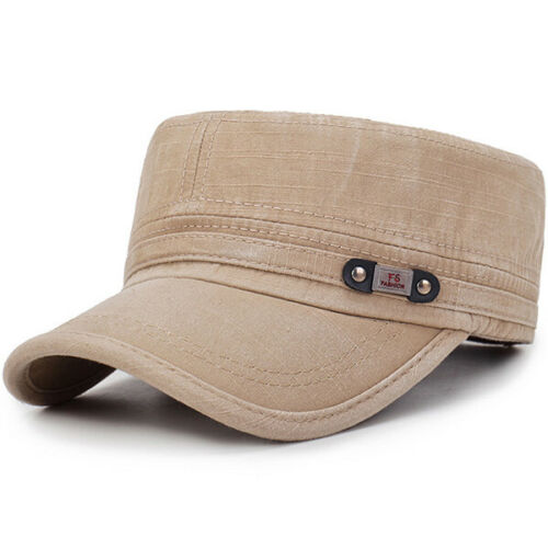 Mens Washed Cotton Flat Top Hat Outdoor Sunscreen Military Army Peaked Dad  *