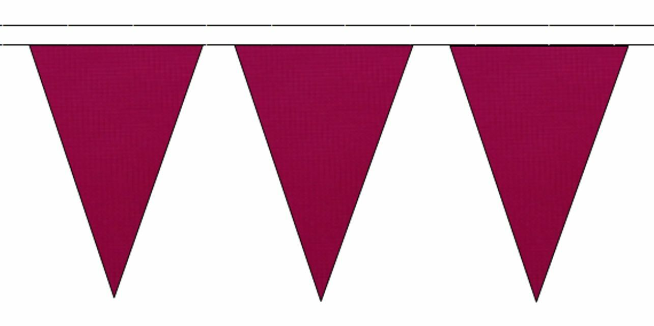 Claret Triangular Flag Bunting - 50m with 120 Flags