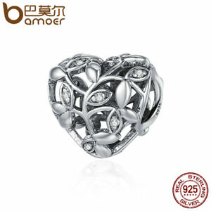 BAMOER-Retro-925-Sterling-silver-Charm-Hollow-Lychee-leaves-For-bracelet-Jewelry