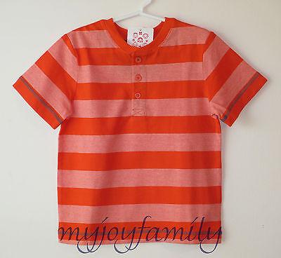 HANNA ANDERSSON Striped Henley Tee Shirt Orange Daybreak 120 6-7 NWT