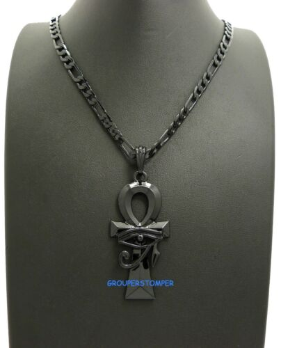 Eye Of Horus On Ankh New Pendant Necklace With 24 Inch Long Figaro Chain Heru