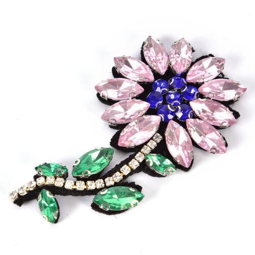 Rose Strass Fleur Perles Patch pour vêtement à coudre sur perles Applique PQ
