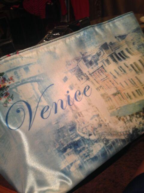 WALT DISNEY WORLD PARKS EXCLUSIVE VENICE TOTE BAG BLUE & CREME SILK