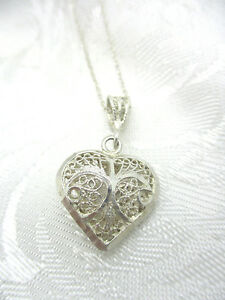 Vintage estate au 925 turkey sterling silver filigree heart pendant image is loading vintage estate au 925 turkey sterling silver filigree aloadofball Gallery