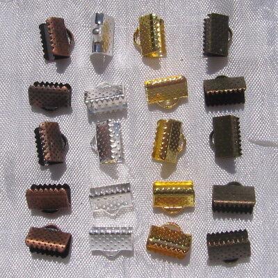 LOT de 20 EMBOUTS PINCES ATTACHE RUBAN griffe gros grain 10x7mm argent or bronze