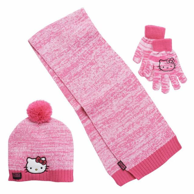 4f31438e589 Hello Kitty 3 PC Cold Weather Set Scarf Hat Gloves Girls Pink One Size