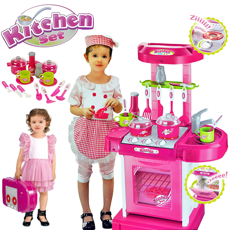 Portable Rose électronique Enfants Cuisine Cuisson Fille Jouet Cuisinière Play Set