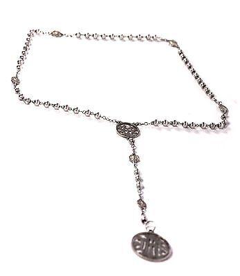 Antique Rosary Silver Jhs Initials Art Nouveau Era
