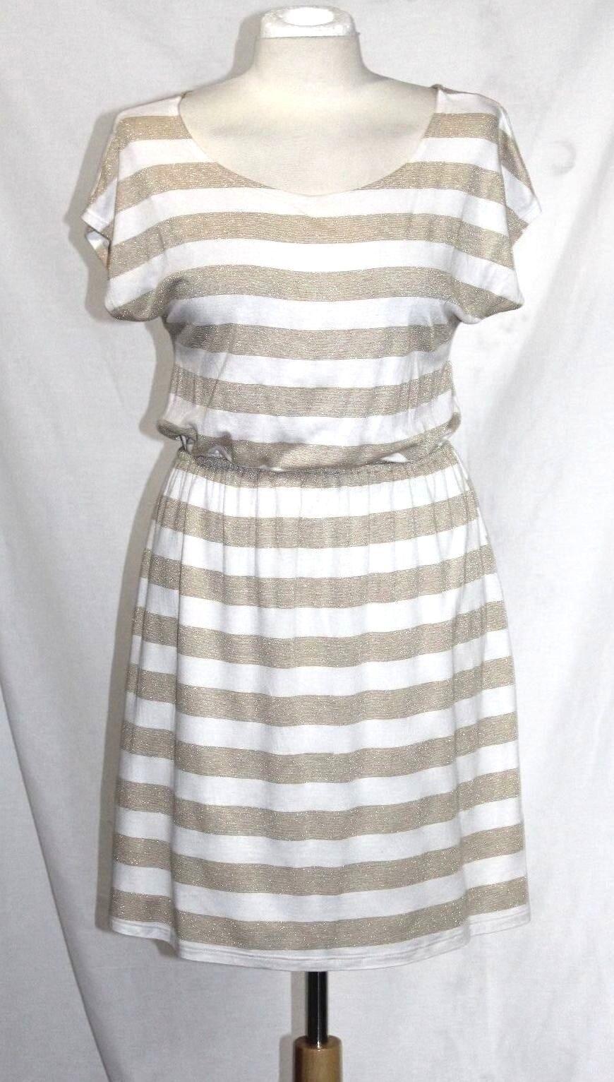 Buttons Anthropologie 1 S M Gold & Elfenbein gestreift 32% Lurex Tunika Kleid