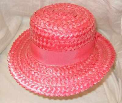 Vintage Vivido Rosa Classico Laccato Cappello Di Paglia In Modo Chics S/m Matrimonio Corse Chic-mostra Il Titolo Originale