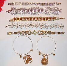 7P Vtg Costume Jewelry BRACELET Lot - Rhinestones, Charm, Plastic, Expansion