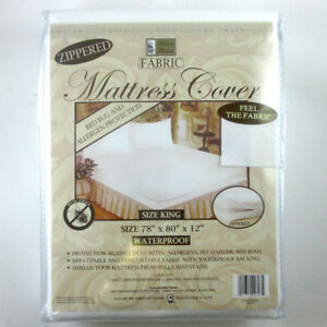 King-Size-Mattress-Cover-Zippered-Fabric-Protector-Bed-Dust-Mite-Bug-Waterproof