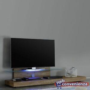 Mensole In Vetro Con Led.Dettagli Su Mobile Porta Tv Line Base Tv Rovere Miele Con Mensola In Vetro E Luci Led Rgb