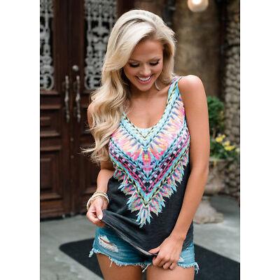 US Womens Boho Tank Top Vest Sleeveless Loose Summer Beach Casual T-Shirt Blouse