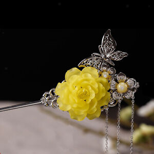 Women-Vintage-Tassels-Wedding-Hair-Pin-Acrylic-Flower-Hairpin-Hair-Stick