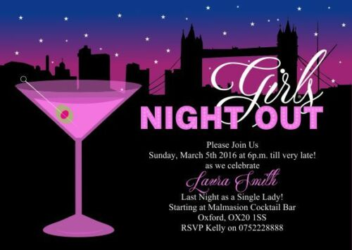 10 x Personalised Hen Ladies Night Out Birthday Pamper Party Invitations
