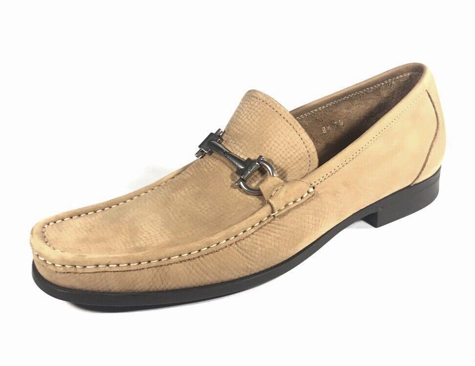 NEUF Salvatore Ferragamo Magnifico Gancini en Daim Marron Clair mocassin hommes chaussures 8.5 D