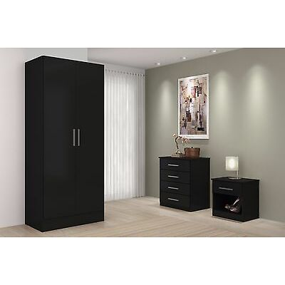 Black High Gloss Bedroom Set Sold as Set or Separately- Chest, Drawers, Wardrobe