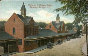 Saratoga-Springs-NY-D-amp-H-RR-Train-Depot-Station-c1910-Postcard