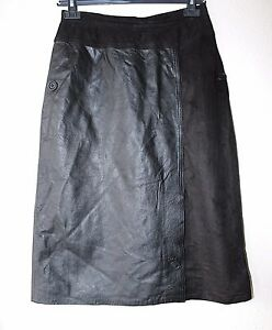 Women-039-s-Vintage-High-Waist-Mid-Calf-Black-Soft-100-Leather-Skirt-Size-UK6-W26-034