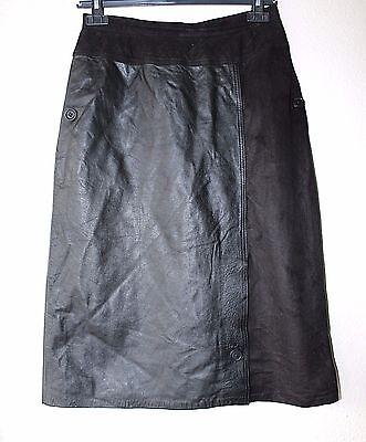 Women's Vintage Straight Matita Al Polpaccio Nero Soft 100% In Pelle Gonna Uk6-mostra Il Titolo Originale Alta Sicurezza