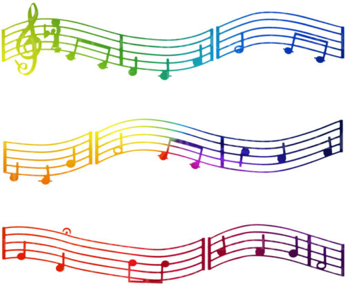 Colorful Music Notes Edible Cake Topper ~ 1//4 Sheet Designer Strips!! ~ D22422