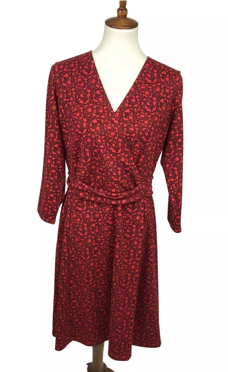 Lands' End Women's Size M 10 12 Knit Floral Faux Wrap Belted Dress Sheath Red