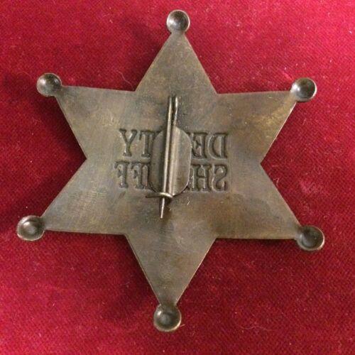 brass star Badge: Deluxe Deputy Sheriff Old West Lawman Police