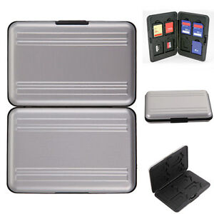 Aluminum Hard Case Storage Holder Carry Protector F/ 8 Micro SD SDHC Memory Card