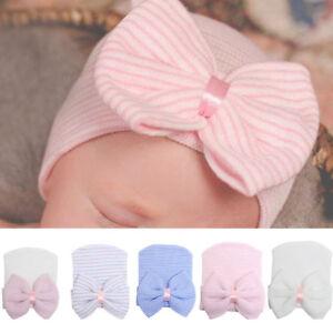9e5288721d3 Newborn Infant Baby Girl Soft Cotton Bow Knit Hospital Cap Warm ...