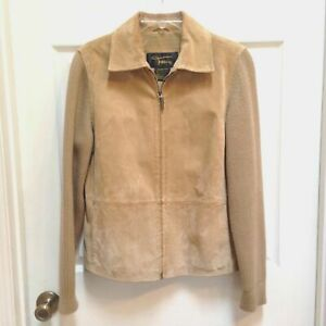 Fabio-Suede-Leather-Jacket-Women-size-Medium-Beige-Lined-Zip-Up-Knit-sleeves
