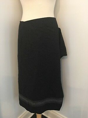 WEEKEND MAX MARA Gray Wool Blend Mid Calf Wrap Blanket Skirt Sz 10 EUC